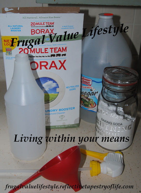 A few of the products I have at home that I use in my homemade cleaning products.  Other tiems include rubbing alcohol, amonia (only use in my window cleaner) and Dawn Original Hand dish detergent.  ~ Laura