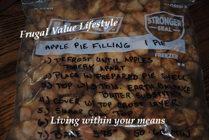 Frugal Value Lifestyle Frozen Apple Pie Filling