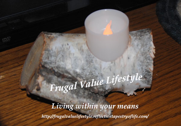One of the different candle holders my husband made using a fallen birch. This piece fits nicely on a bookcase as one enters into our living room.  Laura of Frugal Value Lifestyle www.frugalvaluelifestyle.reflectivetapestryoflife.com