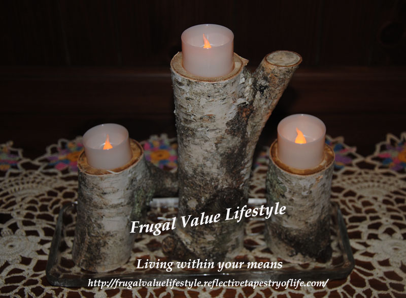 One of the different candle holders my husband made using a fallen birch. This is a set of three which I enjoyed displaying together as a unit. Laura of Frugal Value Lifestyle www.frugalvaluelifestyle.reflectivetapestryoflife.com